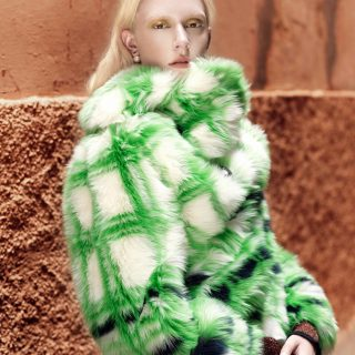 Turtleneck: M Missoni; fur: Miu Miu; earrings: Dior