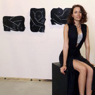 Artist Meltem Şahin alongside her work, 'In That Case'