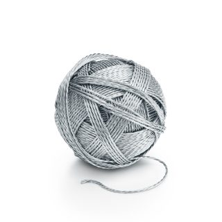 Ball of yarn in sterling silver