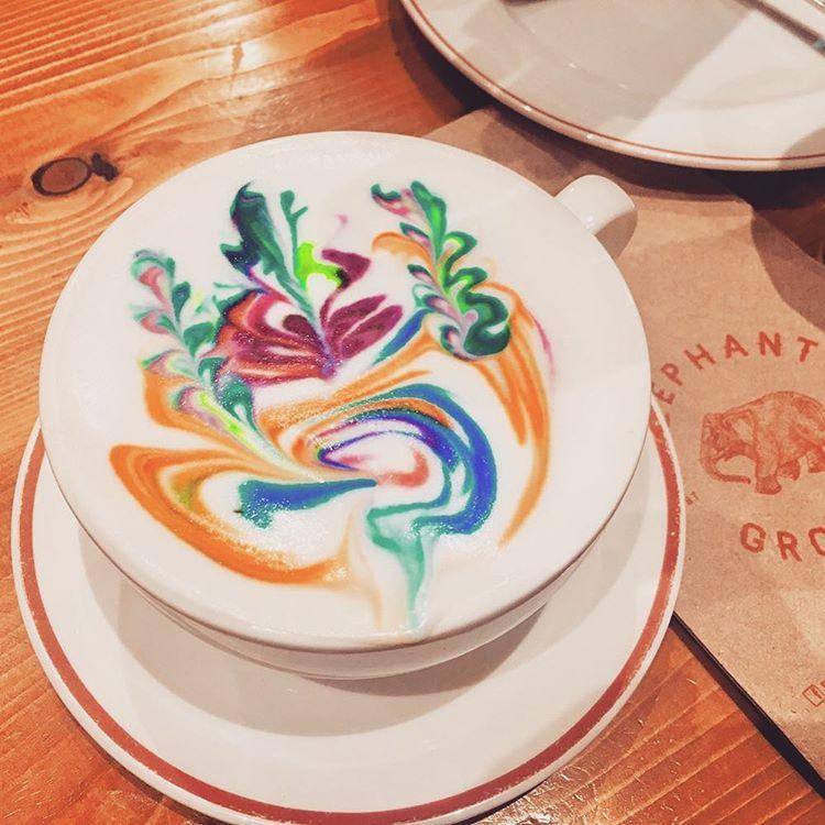 Rainbow Latte at Elephant Grounds