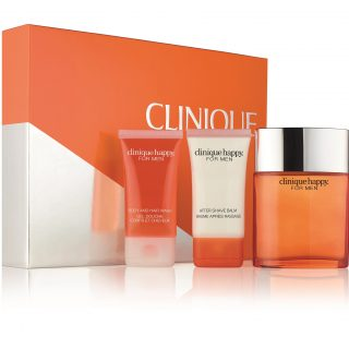 Clinique Happy For Him Set - This is all a man's must-have grooming essentials in one set - cologne spray, body and hair wash, and aftershave balm - in the cool, crisp scent of Clinique Happy For Men fragrance, with a hint of citrus. Layer on for a longer-lasting scent!