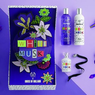The Body Shop X House of Holland Deluxe Fragrance Set - Teaming with British fashion house, House of Holland, The Body Shop limited-edition White Musk deluxe gift set comes with EDT, body lotion, shower get and a gift-exclusive fragrance pomander.