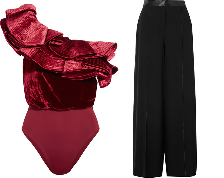 We don't know what we love more, the scalloped edge of Alexander McQueen's black off-the-shoulder top, or the vibrant hue of Gucci's fluid skirt. Separately, they look great, together, they're divine! Take them out on the town with a micro clutch and sleek ponytail. Alexander McQueen top and Gucci skirt, available at Matchesfashion.com.