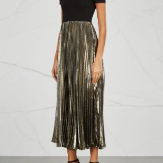It doesn't get much more effortlessly chic than Alice & Olivia's off-the-shoulder dress. We love the form-fitting top against the flowing, scissor-pleated skirt, especially in molten gold. Alice & Olivia dress, available at Harvey Nichols.