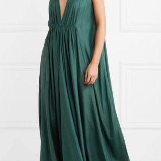 Kalita's floor-skimming gown comes in a beautiful shade of green and is a sensational way to stay comfortable without sacrificing style. The gathered plunge front is our favourite feature and is a smart way to showcase glittering jewels. Kalita gown, available at Net-a-Porter.com.