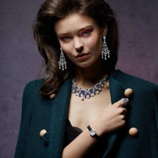 Outfit: Chloé. All jewellery: Graff. Multishape diamond earrings, multishape sapphire and diamond necklace; Carat pear shape diamond ring; Spiral diamond watch.
