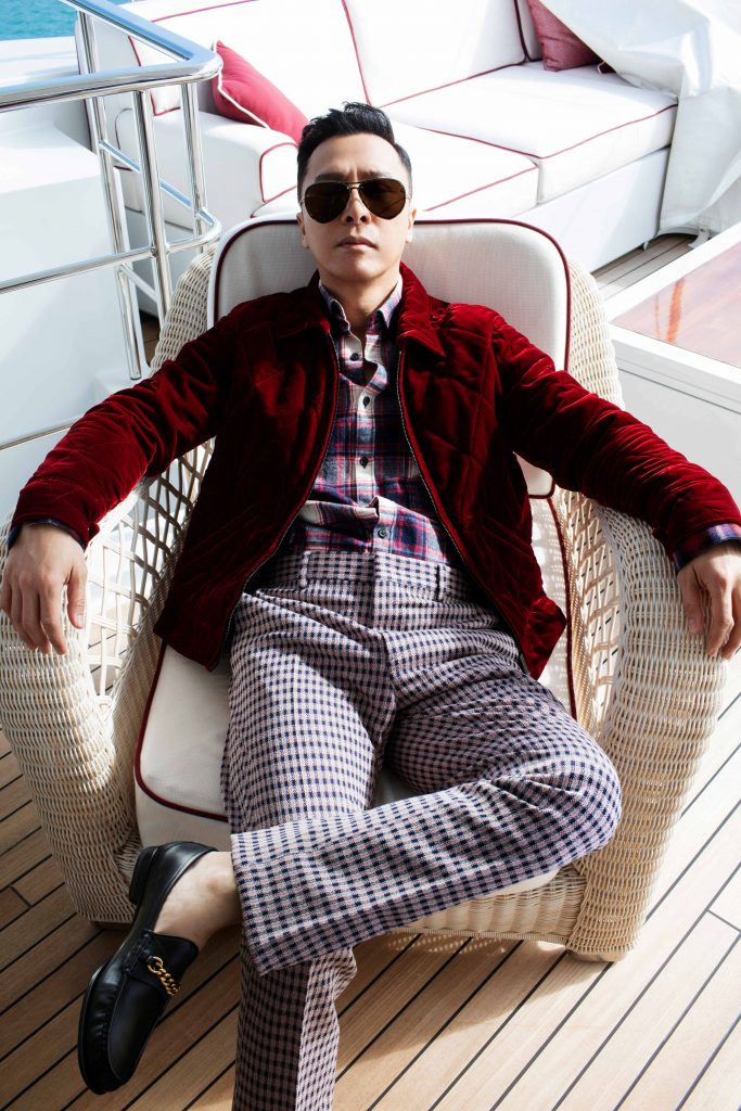 Donnie Yen Prestige Online Cover Shoot - Shirt: Lanvin Jacket: Berluti Trousers: Fendi Shoes: Tom Ford Sunglasses: Alexander Mcqueen