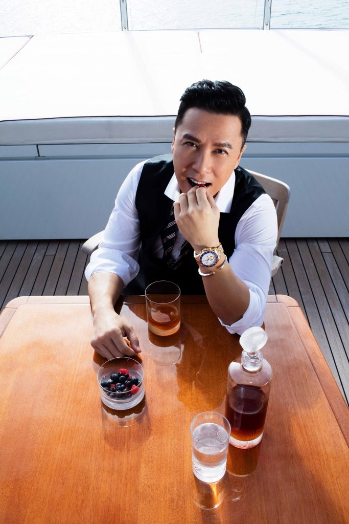 Donnie Yen Prestige Online Cover Shoot - Shirt: Dunhill Waistcoat Philip Plein Bow tie: Brooks Brothers Bracelet: Diana Zhang Watch: Donnie's own Glasses: Lobmeyr HK