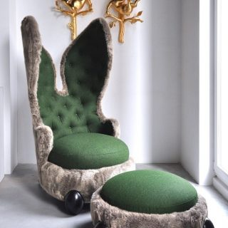 "Hubert Le Gall, Placide, the Rabbit Cailin, 2012, fake fur, wool and varnished wood, armchair 155cm x 80cm x 90cm (edition of 99) ""I'm curious about all styles. Every single one of them inspires me with its forms, materials, and symbols. They point me towards connections. My furniture is saturated with allusions to them. I do not disown them; on the contrary, I play with them…"" – Hubert Le Gall"