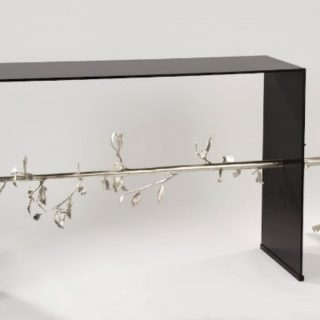 Hubert Le Gall, Pinocchio Console, 2012, lacquered metal and gilded bronze, console 85cm x 172cm x 40cm (edition of 8)