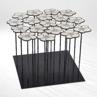Hubert Le Gall, Orchids 18 Flowers, 2017, patinated bronze and white resin, side-table 50cm x 80cm x 80cm (edition of 8 - exclusive to Singapore)