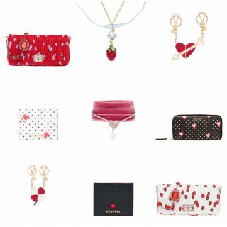 Amid whimsical trinkets in Miu Miu's exclusive Valentine's Day offerings, the charming clutch nails the biggest date night of the year. Recast in matelassé faille decorated with hand-sketched strawberries and hearts, the bag's shoulder strap is a sparkly crystal chain. Your beloved Miu Miu Love small leather goods collection is also given a pretty update with glitter patches, while the compact-chic Madras Love credit card holder with a bulging heart is just the thing for the minimalist.