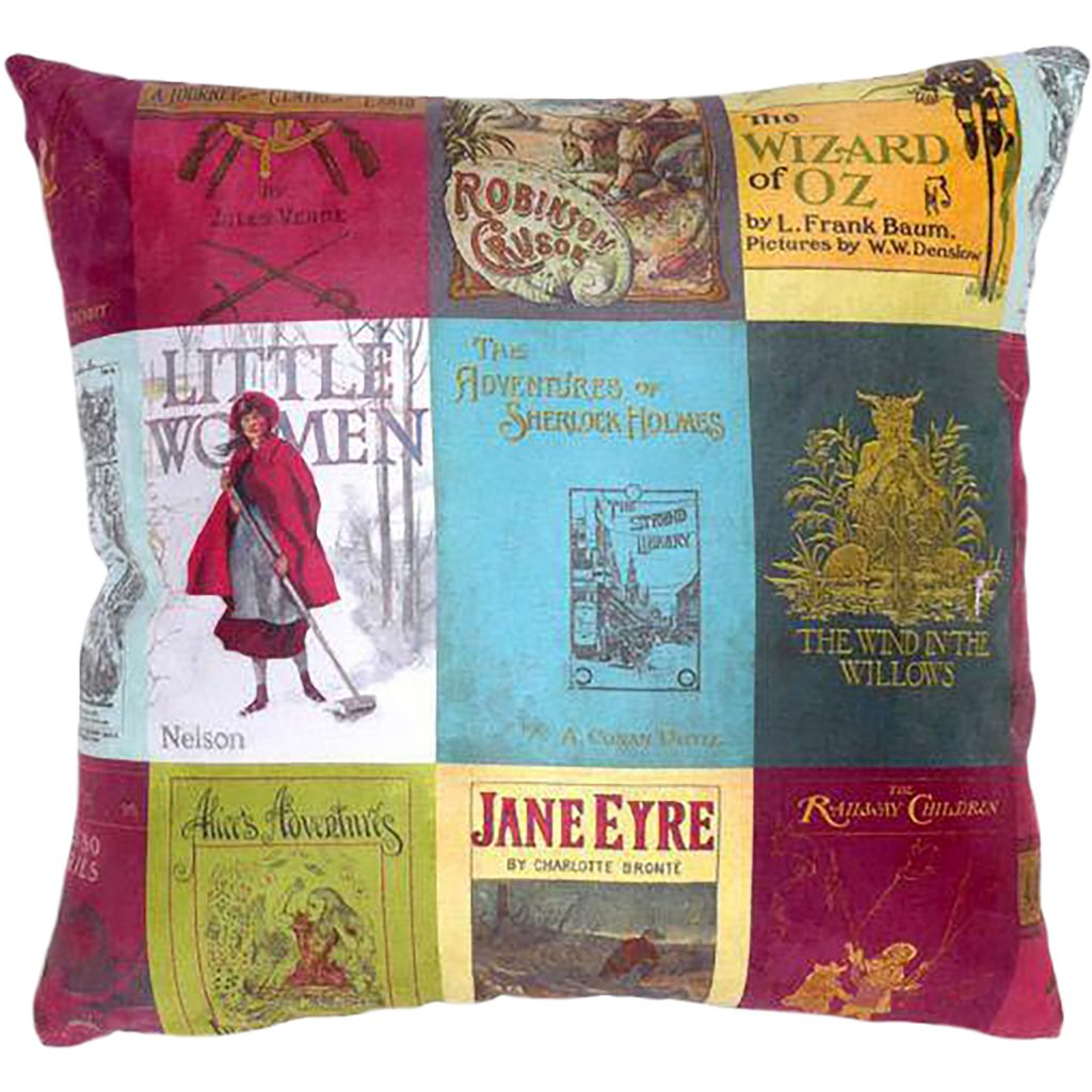 Classic book covers decorate this colourful cushion