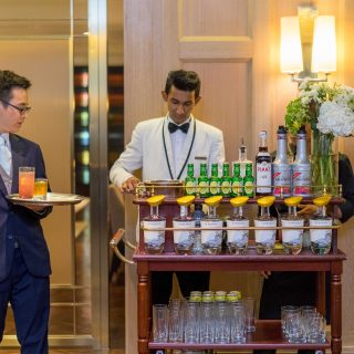 A gin cart was on hand to make specialty English cocktails