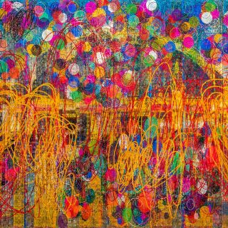 Thasnai Sethaseree (Thailand), Untitled (Hua Lamphong), 2016 — Alluding to the recent socio-political turmoil in his home country, Thai artist Thasnai Sethaseree's Untitled (Hua Lamphong) (2016) is a vibrant collage of coloured paper streamers overlaid on a canvas of Buddhist monks' robes, enfolding into its surface images of modern architecture, political violence in Thailand and printed texts of the new Thai Constitution, fusing symbols of everyday life and political upheaval.