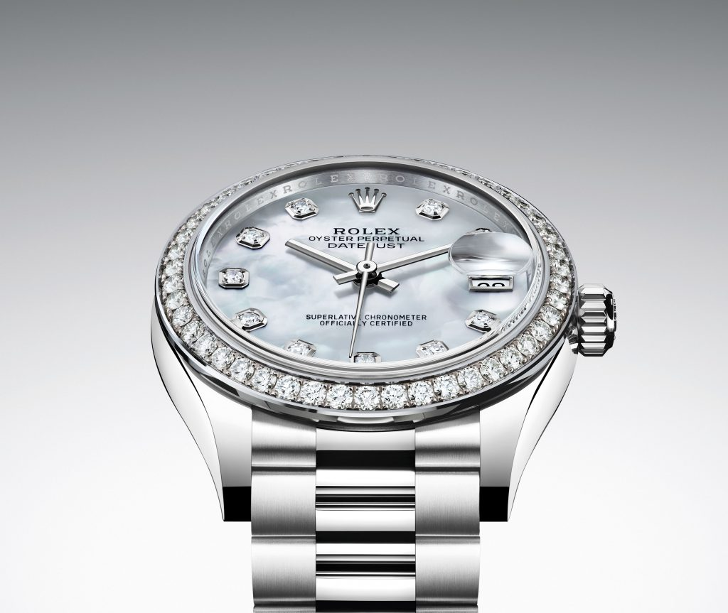 OYSTER PERPETUAL DATEJUST 31 IN WHITE GOLD WITH DIAMONDS