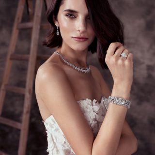 Dress Oscar De La Renta At Trinity Bridal Multishape Sapphire And Diamond Necklace;  Round Diamond Earring Featuring Pear-Shape Diamonds; Diamond Secret Watch;  Round Diamond Promise Ring Graff
