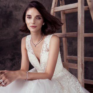 Dress Elie Saab At Trinity Bridal Pear-Shape Diamond Necklace; Heart-Shape Diamond Earrings; Multishape Diamond Bracelet; Round Diamond Promise Ring; Heart-Shape Diamond Eternity Band Graff