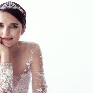 Dress Reem Acra At Trinity Bridal  Multishape Diamond Scroll Motif Tiara;  Round Diamond Earrings;  Multishape Diamond Bracelet;  Diamond And White-Gold Signature Wedding Band Graff