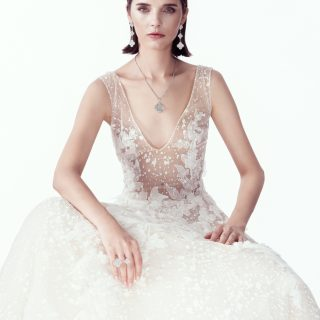 Dress Costarellos At The Lab Of Fairy Tales Bridal Magic Alhambra Between The Finger Ring In White Gold With Diamond Pavé;  Magic Alhambra 3 Motifs Earrings In White Gold With Diamond Pavé;  Magic Alhambra 1 Motif Long Necklace In White Gold With Diamond Pavé Van Cleef & Arpels