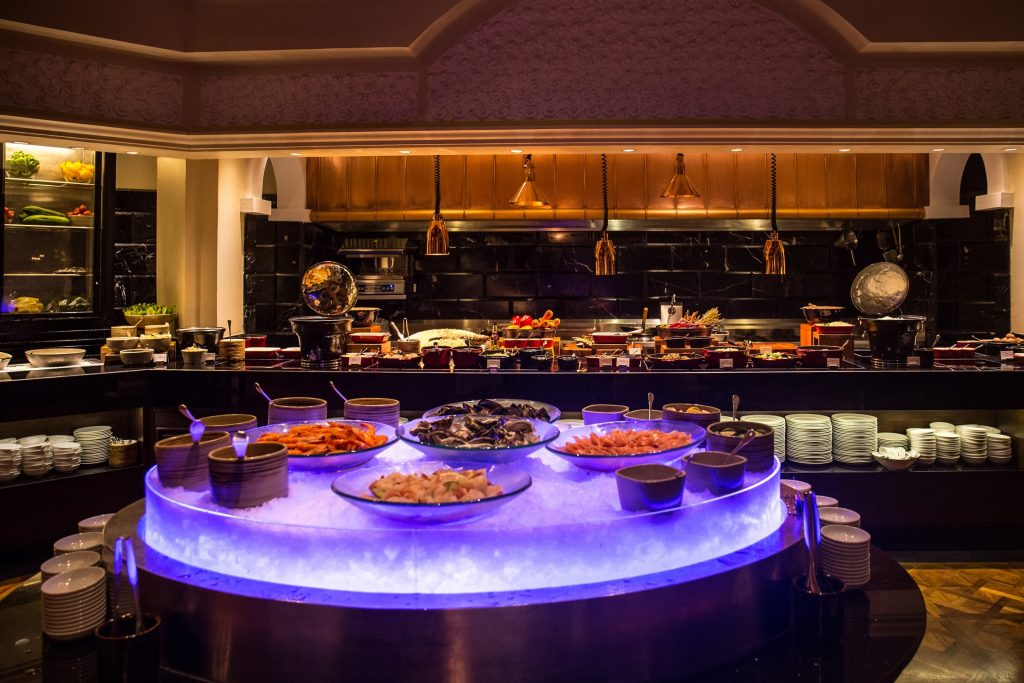International Buffet At The Dining Room 12pm 3pm 6pm 10pm Featuring A Seafood Bar Assorted Sushi And Sashimi Grill Station Salad Cheese