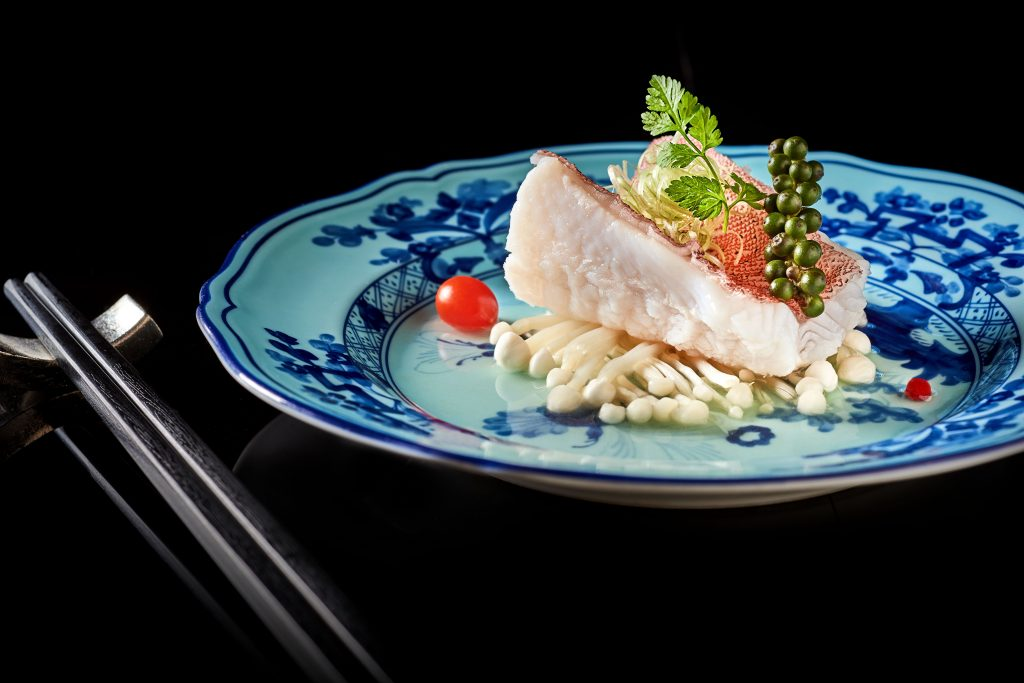 Steamed Dong Xing grouper fillet with green pepper and plum