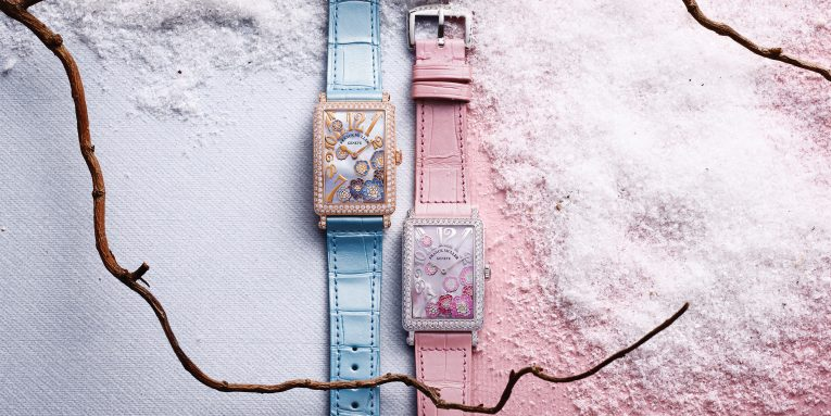This Long Island Peony watch by Franck Muller is a feminine timepiece that features a dial decorated with  beautiful blossoms and 1.92 carats of diamonds on its rectangular case. Available in a series of six different iterations in either stainless steel or rose gold with diamonds.