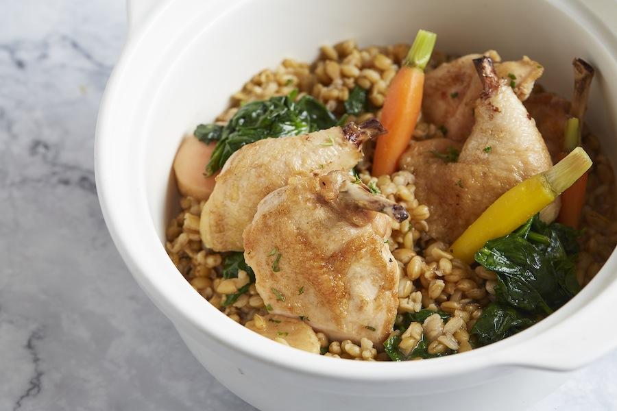 Pot roasted spring chicken