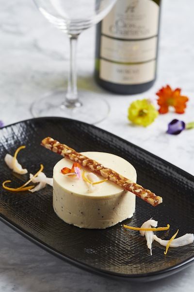 Iced poppy seed and lychee honey parfait