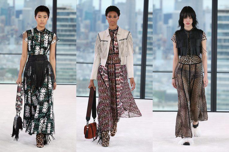 Longchamp 2019 春夏系列,首度在紐約時裝周舉行全規大秀,這次以「花花女公子」為設計靈感,設計師也選用動物印花、飄逸輕柔的透視布料與流蘇的設計,印花透視裙搭配麂皮比基尼內衣,或是獵裝夾克搭配流蘇裙,營造出滿滿的70年代氛圍,展現出自由灑脫的迷情豹女郎。