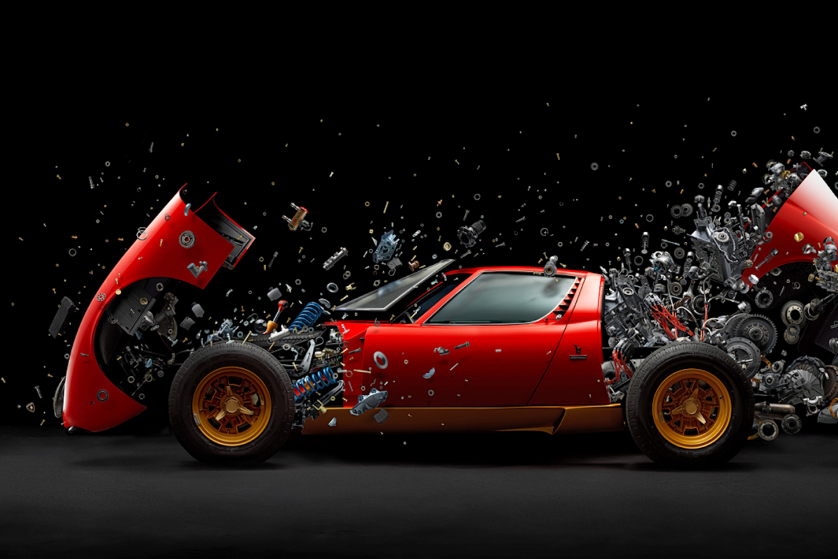Here's what makes this exploding Lamborghini Miura SV a work of art