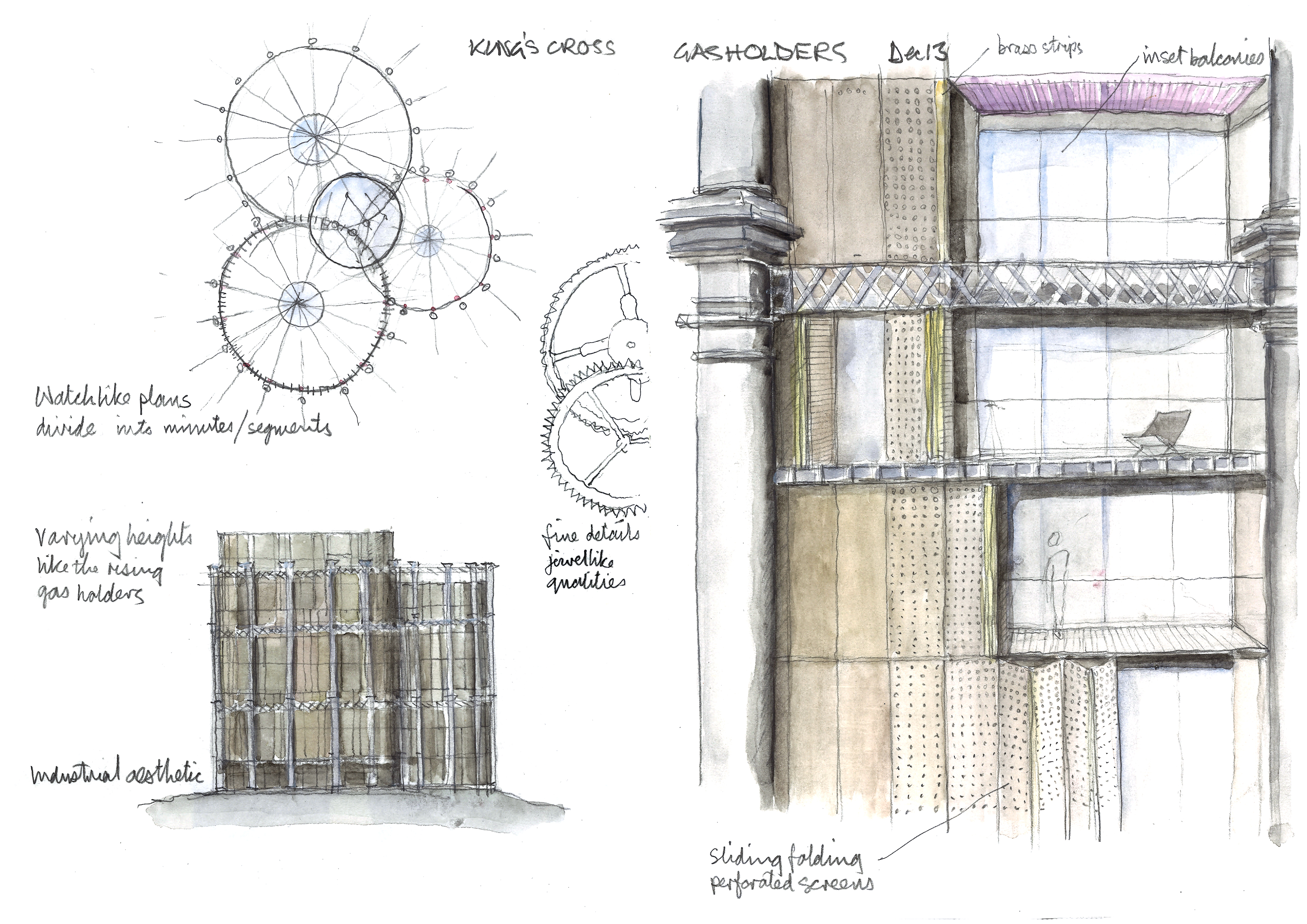 One of Chris Wilkinson's sketches of Gasholders from the Royal Academy exhibition