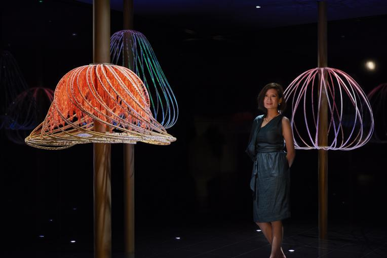 Elaine Ng Yan Ling with her installation, Sundew