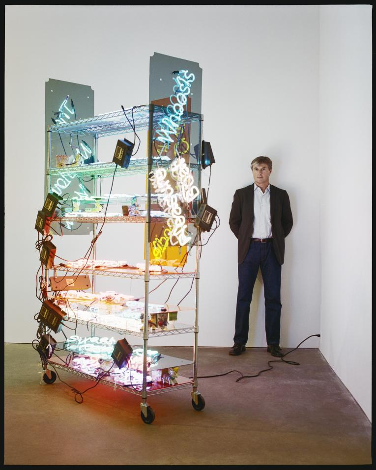 DAVID ZWIRNER WITH AN INSTALLATION BY JASON RHOADES