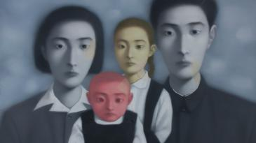 A painting by Zhang Xiaogang being exhibited at M+ Sigg Collection: Four Decades of Chinese Contemporary Art