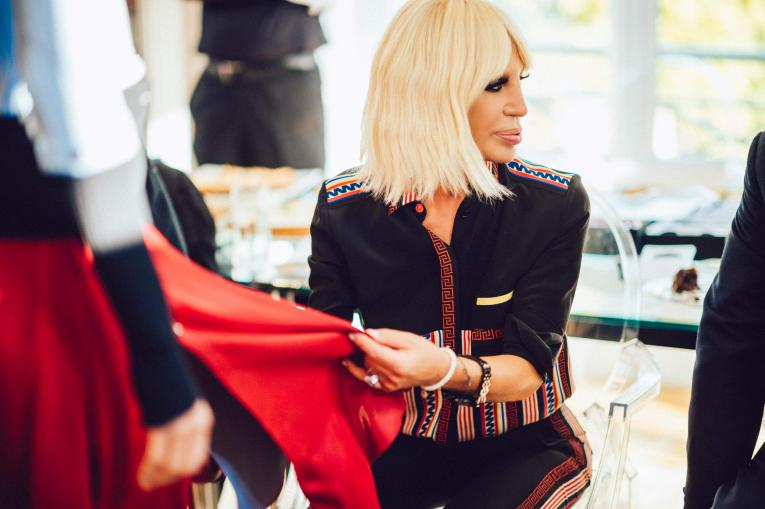 Donatella Versace at a Fitting