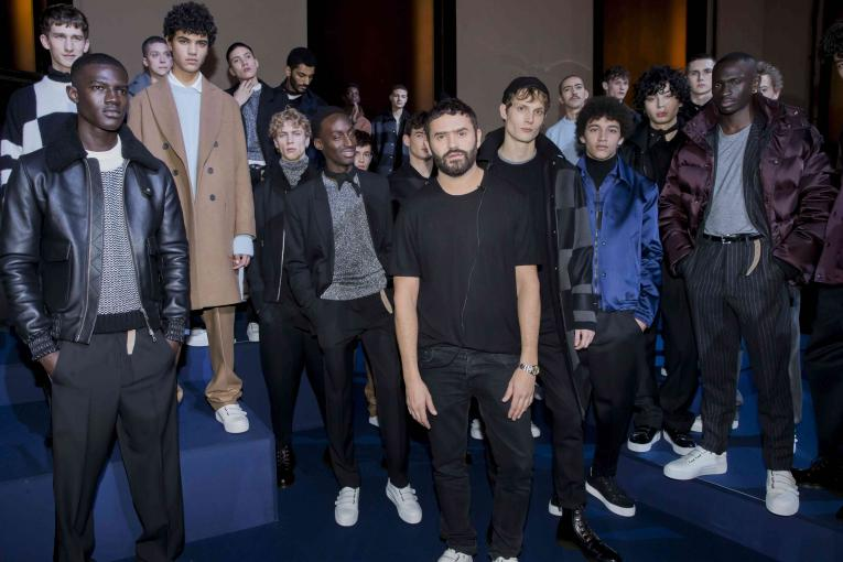 Alexandre Mattiussi backstage with models before the brand's autumn/winter 2016 show