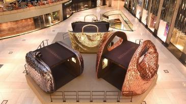 Behind the Intrecciato exhibition at Landmark Atrium
