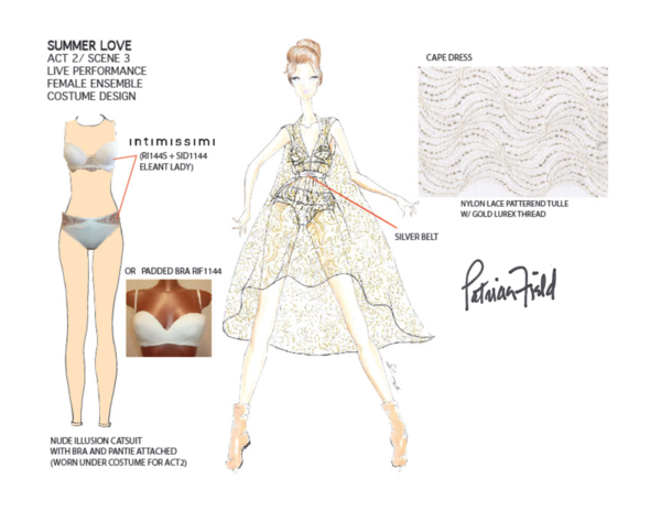ONE OF PATRICIA FIELD'S SKETCHES FOR THE INTIMISSIMI SHOW