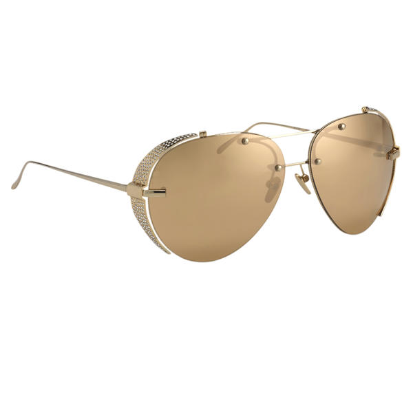 A pair of Linda Farrow 24k gold sunglasses