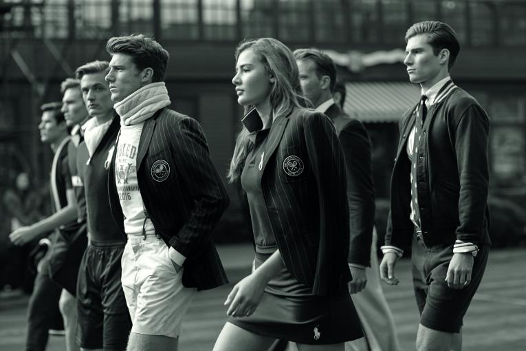 Models wearing Ralph Lauren's 2016 Wimbledon collection