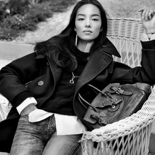 Fei Fei Sun wearing Ralph Lauren's peacoat