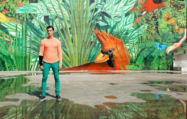 Jumper and trousers: Paul Smith. Shoes: Bottega Veneta