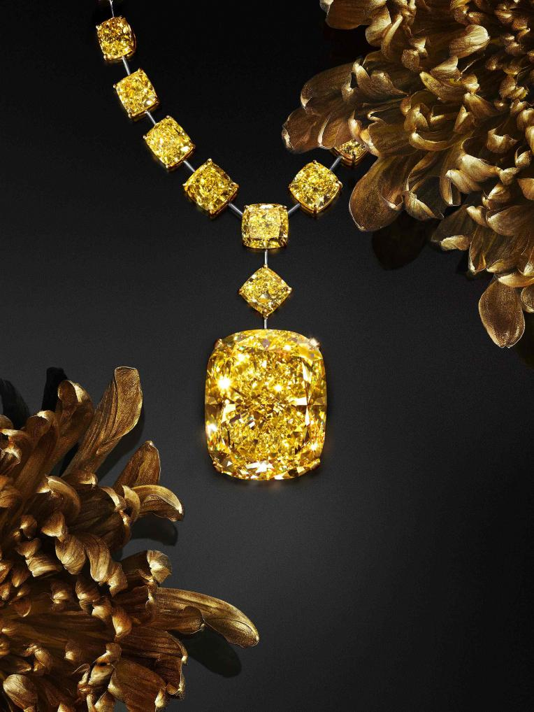 The 132.55-carat Golden Empress diamond set in a necklace