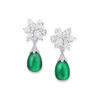 Graff's multishape emerald and diamond earrings set with two cabochon emeralds, with 18.61 carats of diamonds and 61.95 carats of emeralds