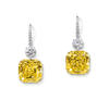 The Graff Gemini Yellows, two Fancy Intense Yellow emerald-cut diamonds set with white-diamond swan hooks, with a total of 113.94 carats of diamonds
