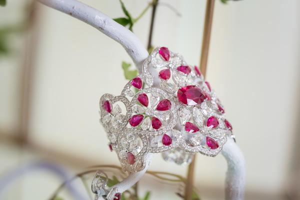 A diamond and ruby cuff, with a 12-carat Pigeon-blood ruby at its heart, by Orlov