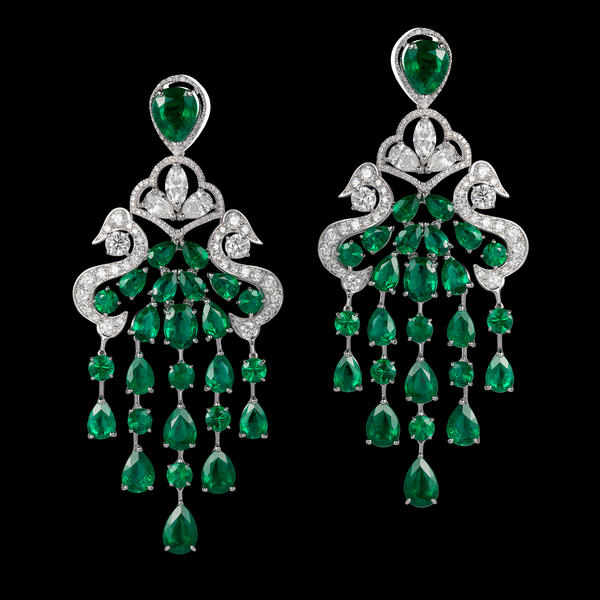 Natural emerald and white diamond earrings by Orlov
