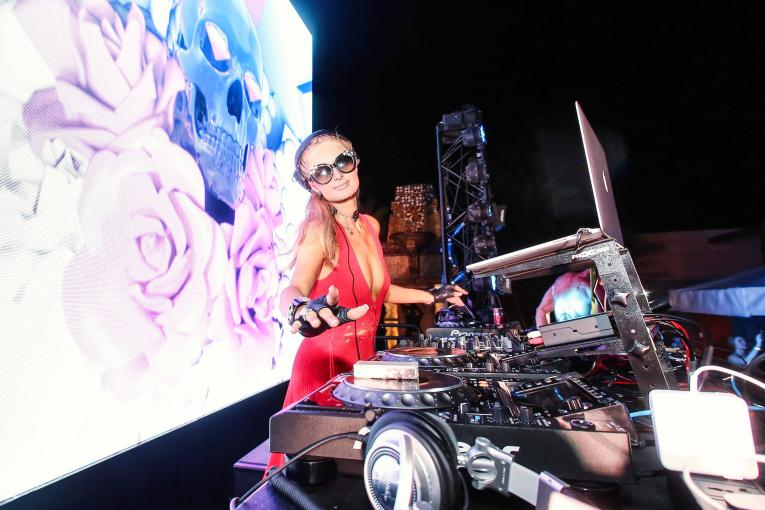 Paris Hilton DJ-ing at Pacha Macau nightclub in Studio City Macau