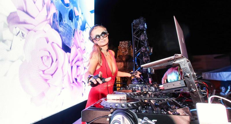 Paris Hilton DJ-ing at Pacha Macau nightclub in Studio City Macau